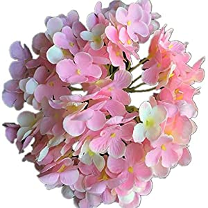 "jiumengya 12pcs Silk Hydrangea Flower Heads Dia. 7.87"" Artificial Flowers Floral Hydrangeas Large Flower Head for DIY Bridal Bouquet Accessories (Pink) 111"