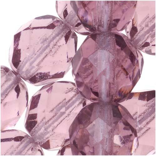 Light Purple Glass Beads (Czech Fire Polish Glass Beads 8mm Round Purple Light Amethyst (25))