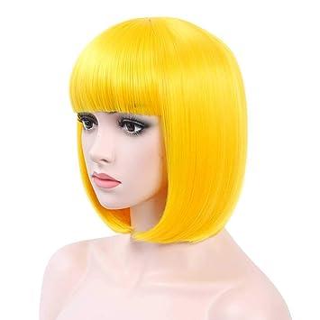 COSYCODE Yellow Bob Wig with Bangs Glueless