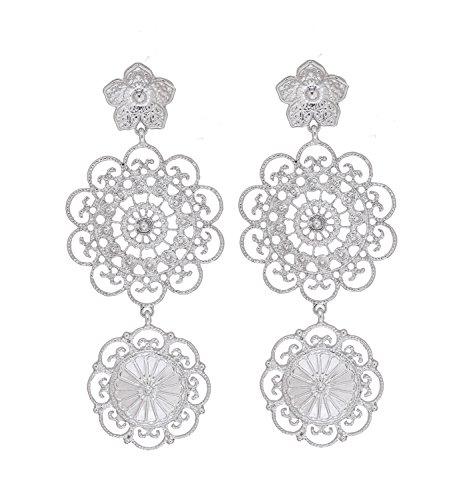 PHALIN JEWELRY Large Statement Dangle Earrings Bohemian Double Medallion Cutout Drop Earrings with Flower Earring Studs for Women Jewelry