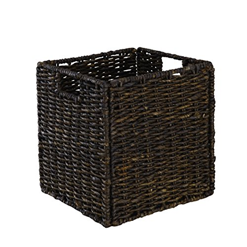 Basket Natural Maize Storage (Organize It All 25469W-1 Collapsible Natural Maize Rope Basket, Dark Brown)