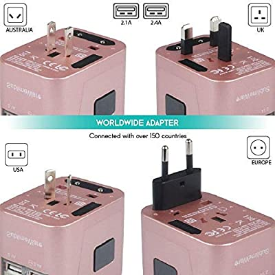 Universal Travel Adapter International All in One Plug (Rose Gold)- w/4 USB Ports Work - 150+ Countries - 220 Volt Adapter - Travel Adapter Type C A G I for UK Japan Germany France EU European: Electronics