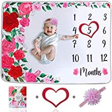 "SGCUTE Milestone Blanket for Baby Girl - Super Soft Baby Monthly Milestone Blanket Girl Comes with a Cute Floral Headband & Heart Frame. Monthly Milestone Blanket for Pictures (Pink, 51"" x 40"")"