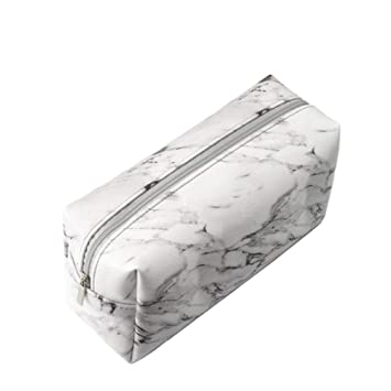 8f55a1a4d26b Marble Makeup Bag Organizer Portable Cosmetic Pouch Travel Makeup Brushes  Holder PU Storage Bag with Silver