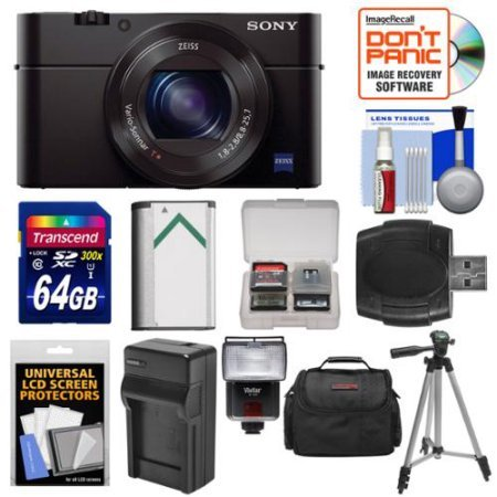 Sony Cyber-Shot DSC-RX100 III Wi-Fi Digital Camera with 64GB Card + Battery & Charger + Case + Tripod + Flash/Video Light + Kit /Color:Black ()