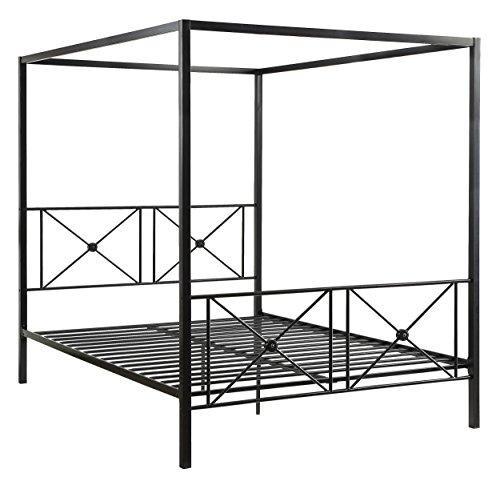 Homelegance 1759-1 Rapa Metal Canopy Bed, Queen, Black (Bed Size Queen Canopy Metal)