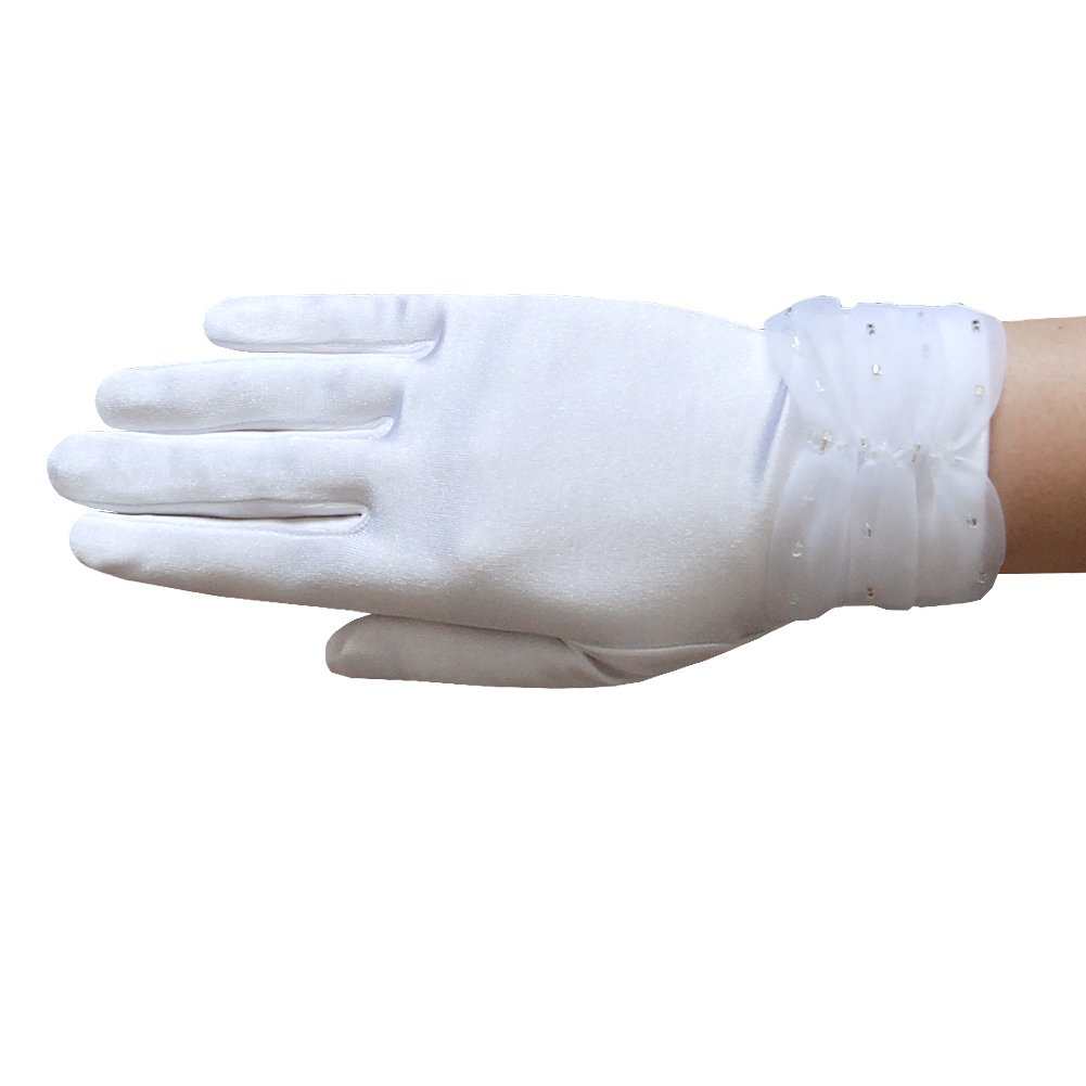 ZaZa Bridal Girl's Satin Gloves with sparkling bugle beads on the Gathered Chiffon Trim- Girl's Size Small (4-7yrs)/White