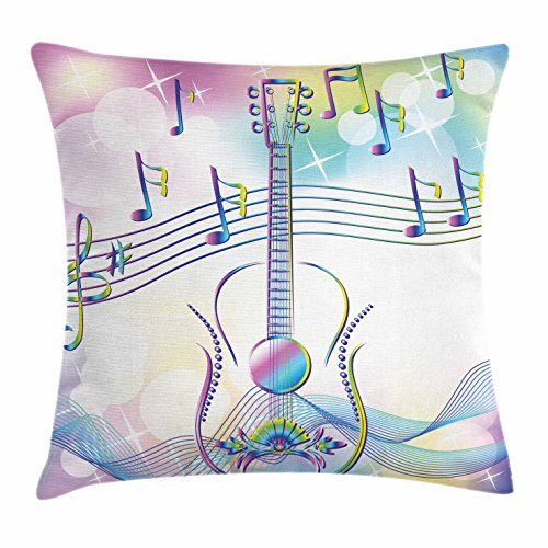 Drop Top Guitar (Music Throw Pillow Cushion Cover by Lunarable, Abstract Image Backdrop with Guitar Musical Notes Star Beam Design, Decorative Square Accent Pillow Case, 36 X 36 Inches, Pale Blue Pink and White)