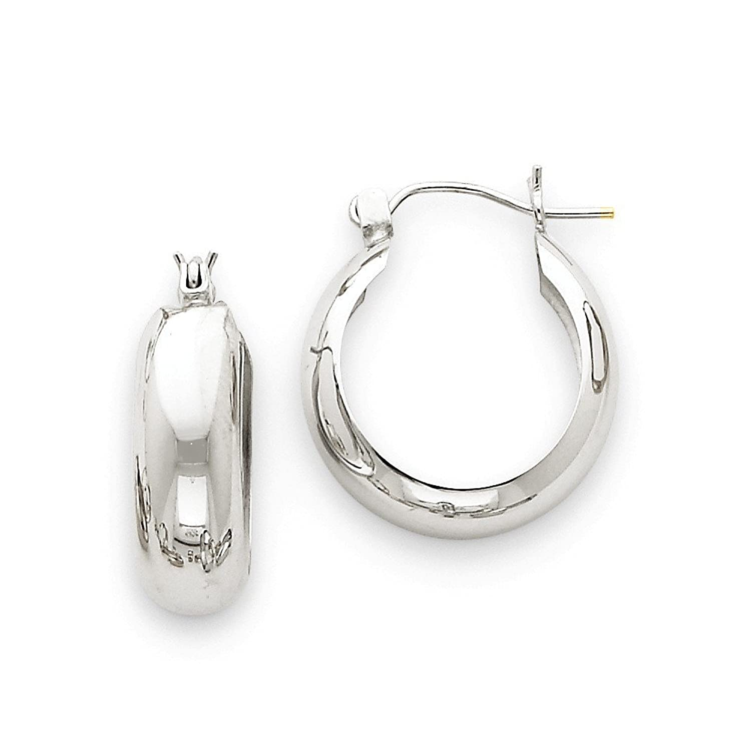 14k Gold White Gold Hoop Earrings (0.55 in x 0.28 in)