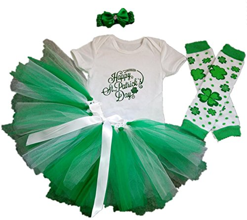 AISHIONY Baby Girl 4PCS 1st ST. Patricks' Day Tutu Outfit Newborn Party Dress XL