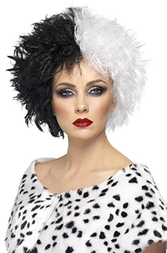 Deville Halloween Wig Cruella Costumes (Smiffy's Women's Black and White Cruella Deville Wig, Short and Tousled Hair, One Size, Evil Madame)