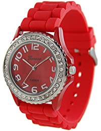 Geneva Platinum Women's 6886.Red Red Rubber Quartz Watch with Red Dial