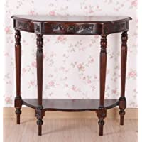 Hand Carved Wood Half-Moon Console Table