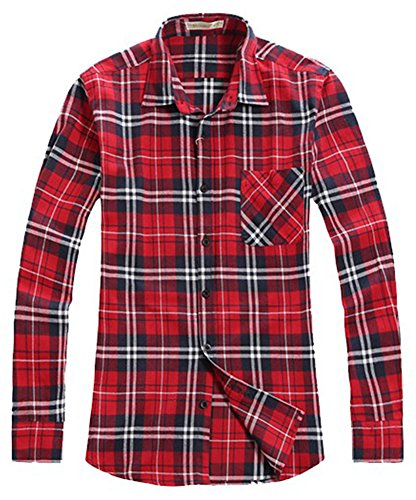 Benibos Men's Classic Long Sleeve Plaid Flannel Shirt (US:XL / Asia XXXXL, Classic Red) - Red Flannel Shirt For Men