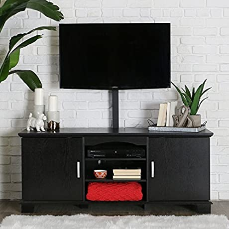 Walker Edison 60 Wood Storage TV Stand Console With Mount Black
