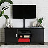 Walker Edison 60'' Wood Storage TV Stand Console with Mount, Black