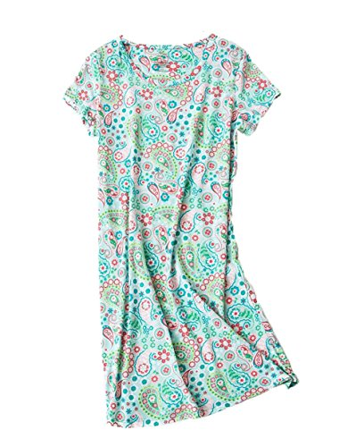 - PNAEONG Amoy-Baby Women's Nightgowns Short Sleeves Cotton Sleepwear Print Sleep Shirt XTSY001LGreen Flower