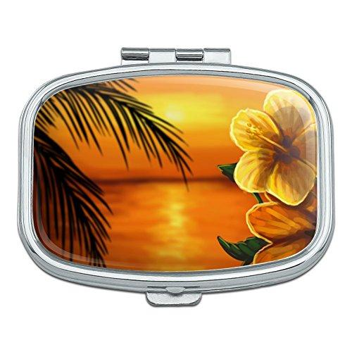 Beach Sunset Hibiscus Flower Hawaiian Rectangle Pill Case Trinket Gift ()