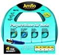 "Amflo 14-100 Blue 300 PSI Polyurethane Air Hose 1/4"" x 100' With 1/4"" MNPT Swivel and Field Repairable Ends"