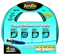 "Amflo 14-50 Blue 300 PSI Polyurethane Air Hose 1/4"" x 50' With 1/4"" MNPT Swivel and Field Repairable Ends"