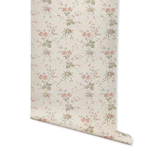 Press Floral, Ivory Wallpaper for Walls - Double Roll - by Romosa Wallcoverings BB7338