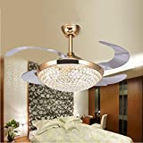 TiptonLight 42--inch Gold Crystal Ceiling Fan with Remote Control Has Three Change Colors Don't Support Dimming (42 Inch, Gold)