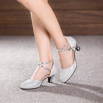 703ec3cf T.T-Q Zapatos de Baile de Mujer Zapatos de Charol de Cuero Tacón Cubano  Principiante Plata: Amazon.es: Deportes y aire libre