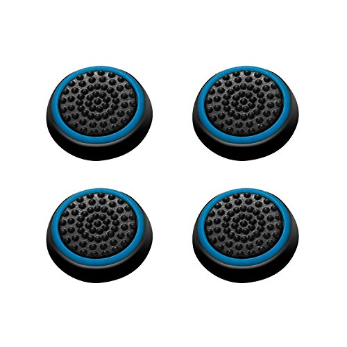 Insten [2 Pair / 4 Pcs] Wireless Controllers Silicone Analog Thumb Grip Stick Cover, Game Remote Joystick Cap for PS4 Dualshock 4/ PS3 Dualshock 3/ PS2 Dualshock/Xbox One/Xbox 360, Black/Blue ()
