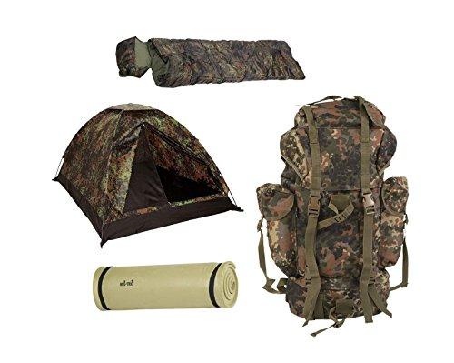 AOS-Outdoor Biwak Camping Set Zelt BW Kampfrucksack Isomatte Schlafsack Set 4 Teile Flecktarn
