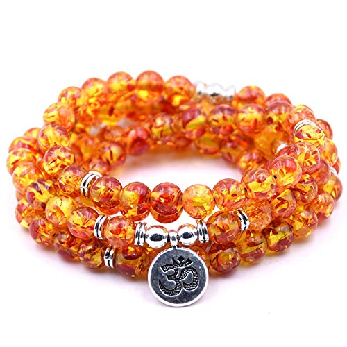 Self-Discovery 108 Natural Beads Mala Yoga Jewelry Meditation Beads Bracelet Necklace with OHM Charm (Resin Amber)