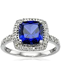 Sterling Silver Gemstone and Diamond Cushion Halo Ring (0.14 cttw, I-J Color, I2-I3 Clarity)