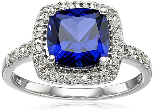Sterling Silver Created-Blue-Sapphire and Diamond Cushion Halo Ring (0.14 cttw, I-J Color, I2-I3 Clarity), Size 7