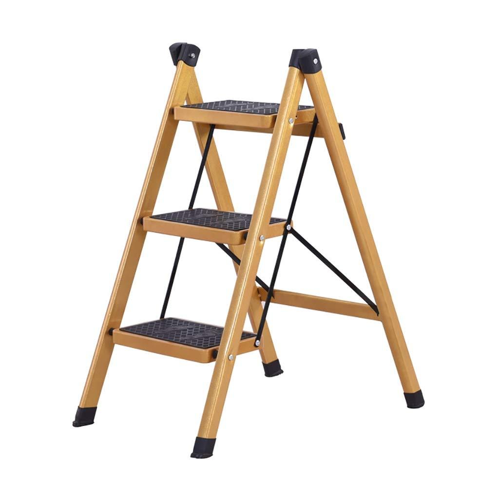 SH-Chairs Klapp 2 3 Schritt Leiter Sicherheit Rutschfeste Matte Schwere Stahl Tragbare Küchenhocker Caravan Haus Gartenwerkzeug (größe   41  66  80CM)
