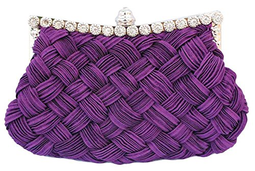 Chicastic Pleated and Braided Rhinestone studded Wedding Evening Bridal Bridesmaid Clutch Purse - Purple