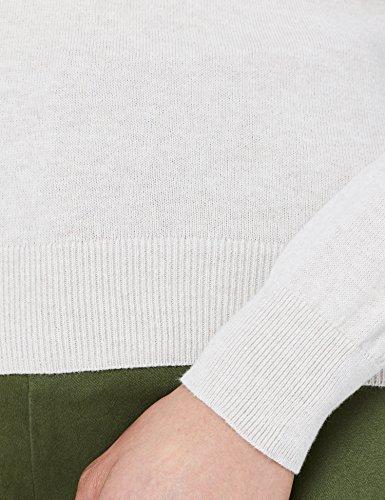 V MERAKI Col Beige Pull Linen Coton Femme en nxH1HCq