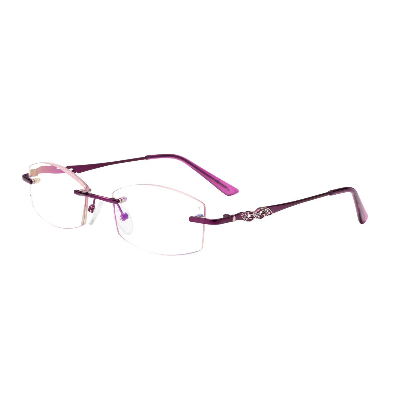 90ad792d8005 LianSan Blue Light Blocking Reading Glasses for Women Fashion Rimless  Readers 1.0 Red