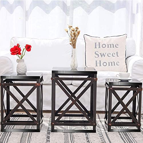 Industrial Set of 3 Cube Nesting Tables Coffee Tables