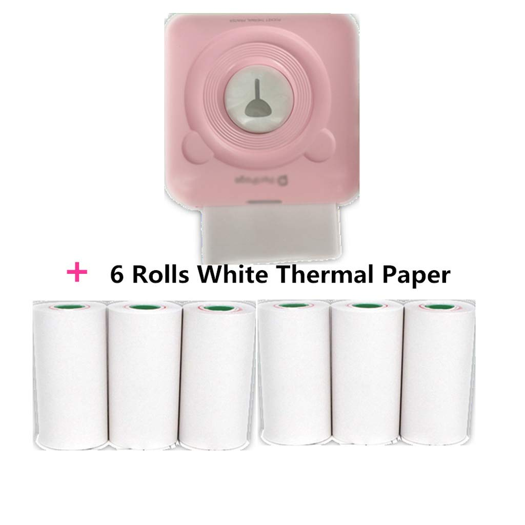 Inkless Bluetooth Pocket Portable A6 Peripage Thermal Printer Picture Mobile Mini Photo Printer (Color : Pink) by Zyj-Photo printer
