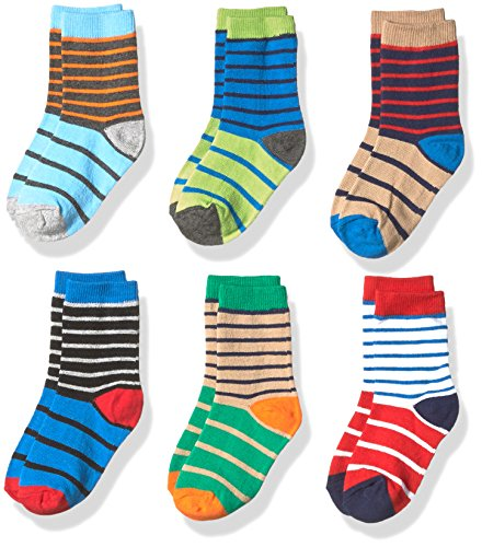 Jefferies Socks Boys' Little Stripe Cotton Crew Socks 6 Pair Pack, Multi, Medium