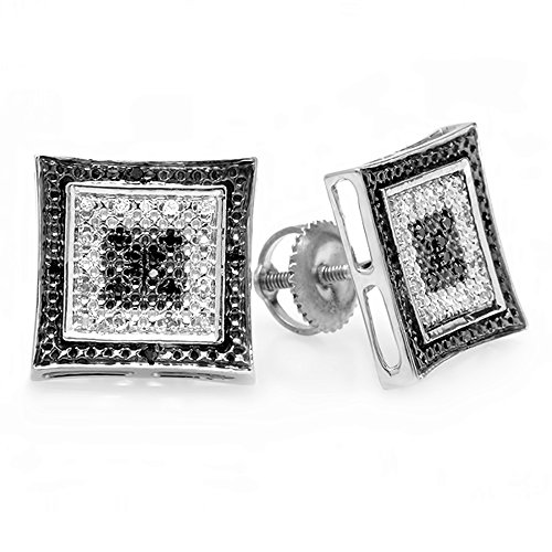 0.12 Carat (ctw) Sterling Silver White & Black Round Diamond Micro Pave Setting Kite Shape Stud (0.12 Ct Mens Diamond)