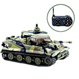 BlueFit German Tiger I Panzer RC Tank with Remote Control, Battery, Light, Sound, Rotating Turret and Recoil Action When Cannon Artillery Shoots, Mini 1:72 Scale, Assorted Color