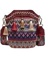 Moonlitt Ethnic Bohemian Braid Bucket Crossbody Bag with Tassel Fringed Crossbody Shoulder Bag Wide Strap Handbag