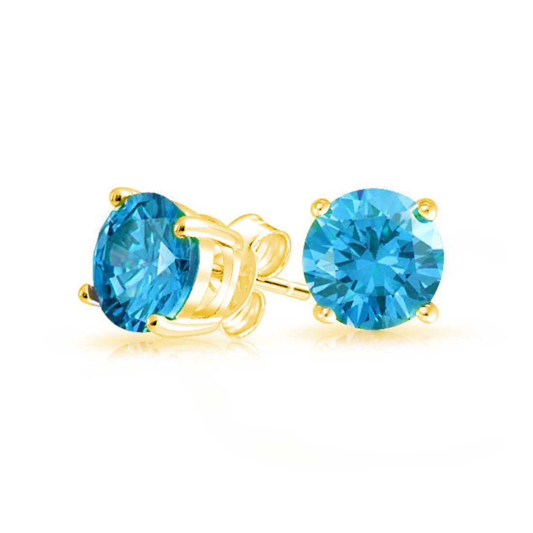 Solitaire Stud Post Earring Round Simulated Swiss Blue Topaz Yellow Tone Plated 925 Sterling Silver