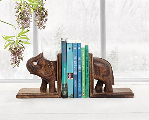 Store Indya Wooden Book Ends Handcrafted CD Dvd Stand Rack Shelf Decorative Display Pair Bookend for Bookshelf Holder Home Office School Library Desk Tabletop Organizer (Saluting Elephant (Art Deco Rosewood Table)