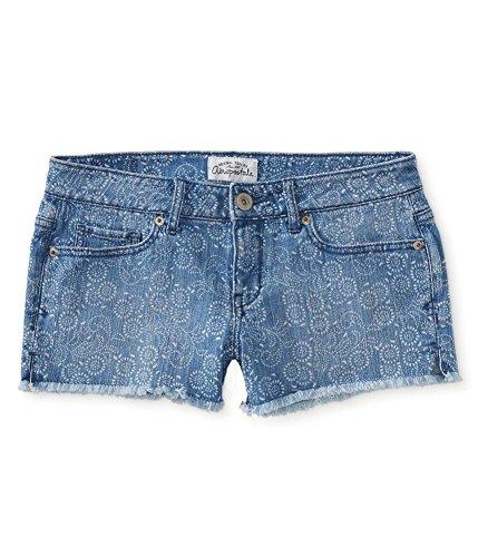 Aeropostale Womens Bandana Print Cut Off Casual Denim Shorts Blue 5/6 - Juniors