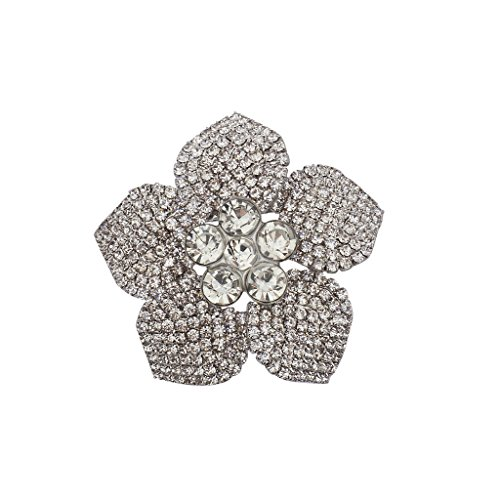 Lux Accessories Silvertone Crystal Pave Rhinestone Flower Bridal Brooch Pin from Lux Accessories