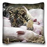 Soft Pillow Case Cover ( Animals cat rat Friends ) Standard Size Pillowcase for Hair & Facial Beauty Size 16x16 Inches suitable for Queen-bed PC-Purple-603