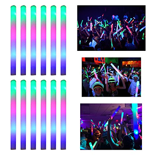 Cheapest Glow Sticks (LifBetter 12+1 PCS LED Foam Glow Sticks, Glow in The Dark Party Supplies for Wedding Birthday Party Decoration by)