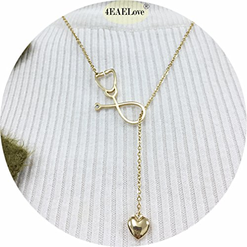 Stainless Steel Stethoscope Lariat Pendant Necklace Heart for Doctor Medical Student Gift Nurse Thanksgiving Gift Jewelry (Gold)