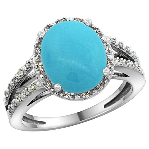Sterling Silver Diamond Halo Sleeping Beauty Turquoise Ring Oval 11x9mm, 7 16 inch wide, sizes 5-10